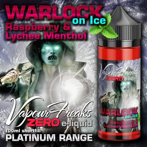 Warlock on Ice – Vapour Freaks Zero – 100ml – Raspberry and Lychee menthol