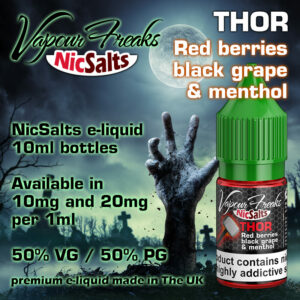 Thor - Red berries, black grape and menthol - Vapour Freaks NicSalts e-liquids